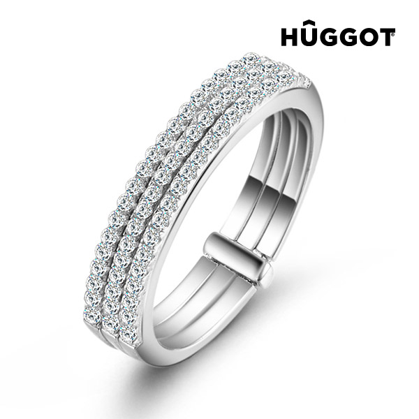 Prsten ze sterlingového stříbra 925 se zirkony Three Hûggot - 18,1 mm