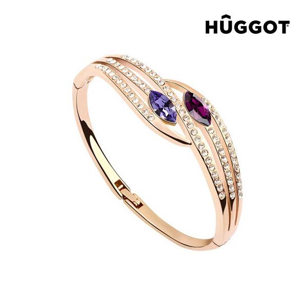 Náramek pozlacený v růžovém zlatě 18 K se zirkony Paradise Hûggot (Ø 5,5 cm)
