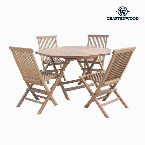 Stůl se 4 židlemi Teak Osmiúhelníkový by Craftenwood
