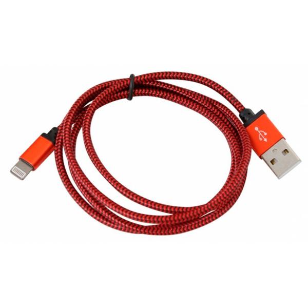 Textilní Kabel Lightning PLATINET PUCFBIP1R 1 m Červený
