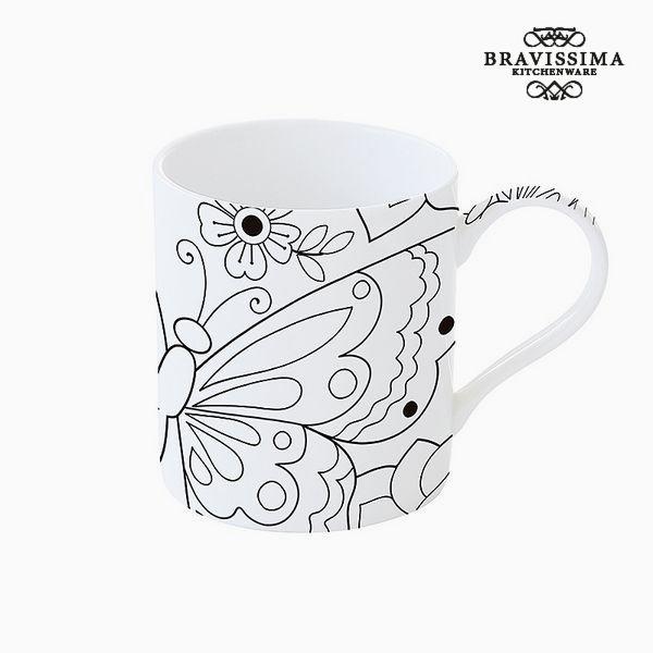 Cup Porcelán Černý Bílý - Kitchen's Deco Kolekce by Bravissima Kitchen