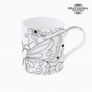 Cup Porcelana Czarny Biały - Kitchen's Deco Kolekcja by Bravissima Kitchen
