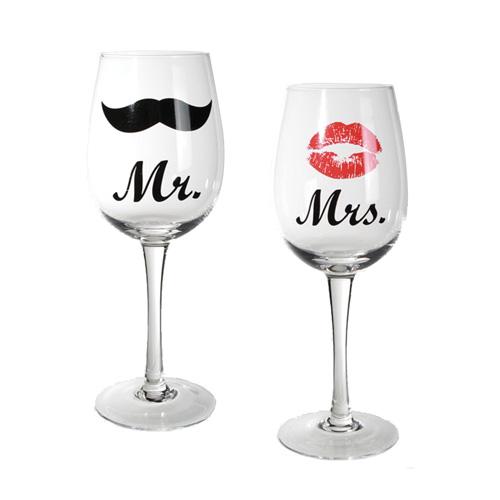 Sklenice na Víno Mr & Mrs