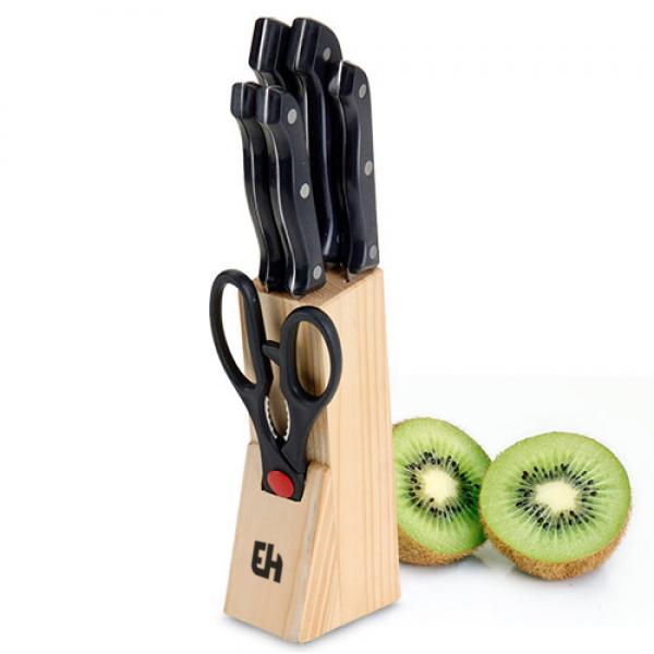 Sada Nožů s Dřevěným Stojanem (6 kusů)