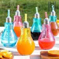 Kolorowe Szklanki Żarówka ze Słomką Wagon Trend 250 ml (6 sztuk)