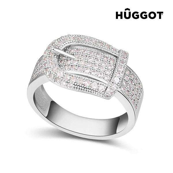 Prsten potažený rhodiem se zirkony Belt Hûggot - 18,1 mm