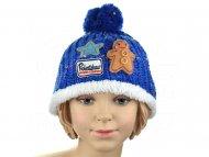 Pohodlná dětská čepice s nášivkami - modrá