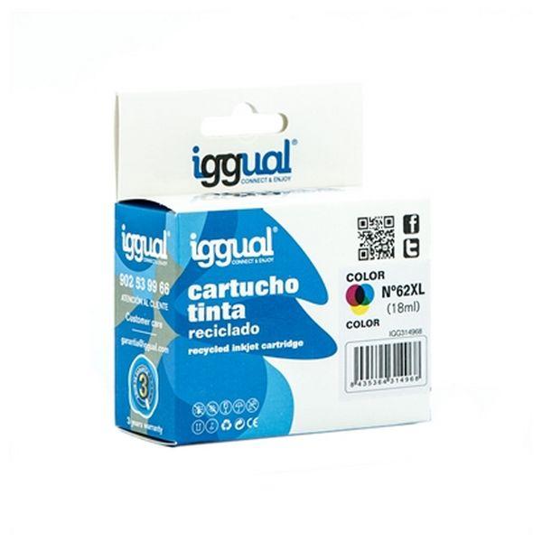 Recyklovaná Inkoustová Kazeta iggual IGG314968 HP 62 Barva