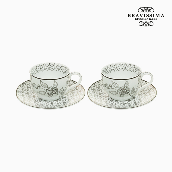 Set 2 Hrnků na Kávu Porcelán Bílý Černý (2 pcs) by Bravissima Kitchen