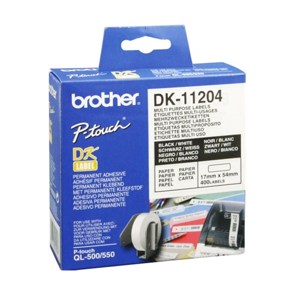 Univerzální Štítky do Tiskárny Brother DK11204 17 x 54 mm Bílý