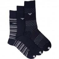 Pánské Nízké Ponožky Emporio Armani 302402-7A283-35 (3 páry) - Námořnický Modrý