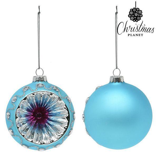 Vánoční koule Christmas Planet 1693 8 cm (2 uds) Sklo Modrý