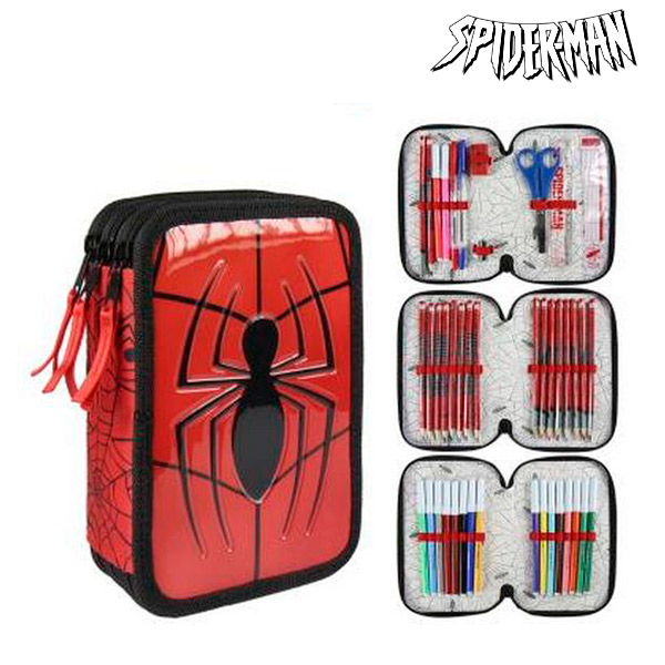 Piórnik potrójny Spiderman 8492 Czerwony