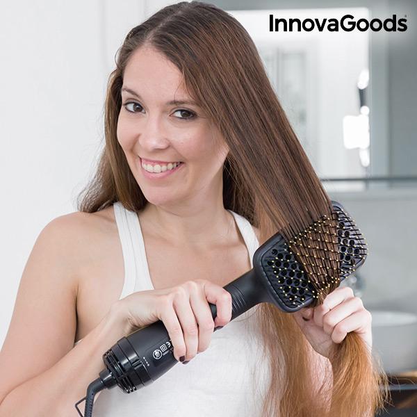Elektrický Kartáč na Vlasy InnovaGoods 1000W Zlatočerný