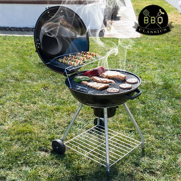 Gril na Dřevěné Uhlí s Víkem a Kolečky Black BBQ Classics