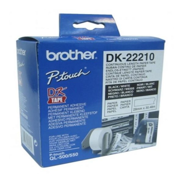 Nekonečný Papír pro Počítačové Tiskárny Brother DK22210 29 x 30,48 mm Bílý