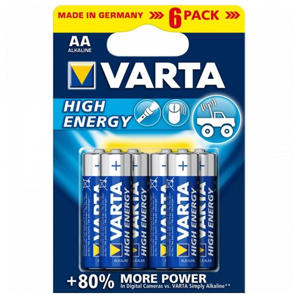 Alkalická baterie Varta 1,5 V AA High Energy (6 pcs) Modrý