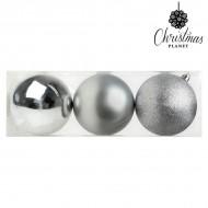 Vianočné gule Christmas Planet 7254 10 cm (3 uds) Striebristý