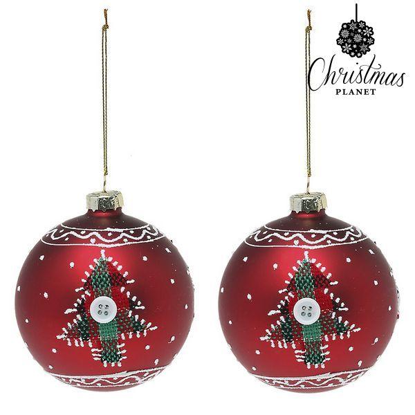 Vánoční koule Christmas Planet 1785 8 cm (2 uds) Sklo Červený