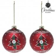 Vianočné gule Christmas Planet 1785 8 cm (2 uds) Sklo Červená