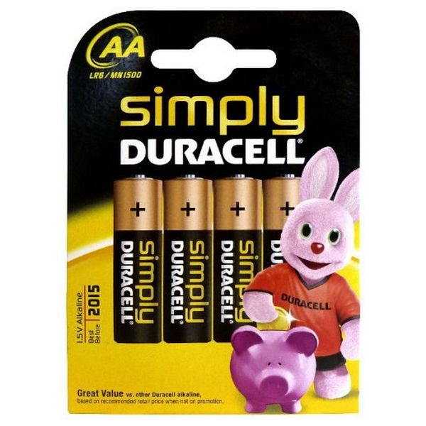 Baterie Alkaliczne DURACELL Simply DURSIMLR6P4B LR6 AA 1.5V (4 pcs)