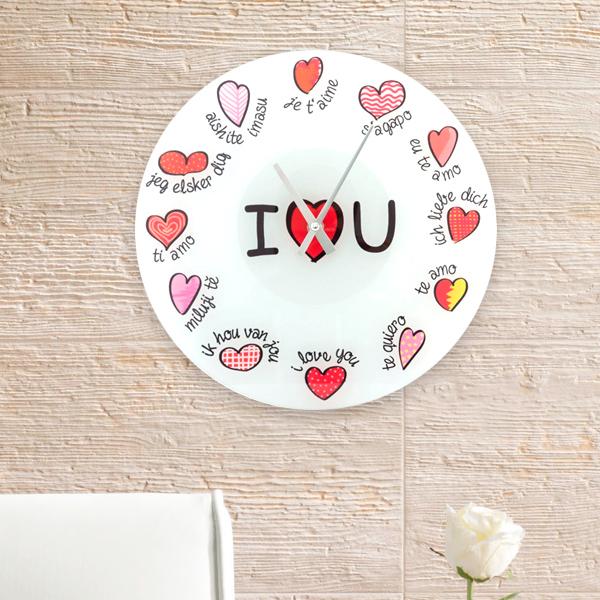 Wielojęzyczny Zegar Ścienny I Love You