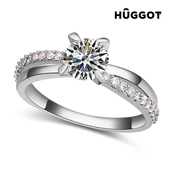 Prsten potažený rhodiem se zirkony You & Me Hûggot - 18,1 mm
