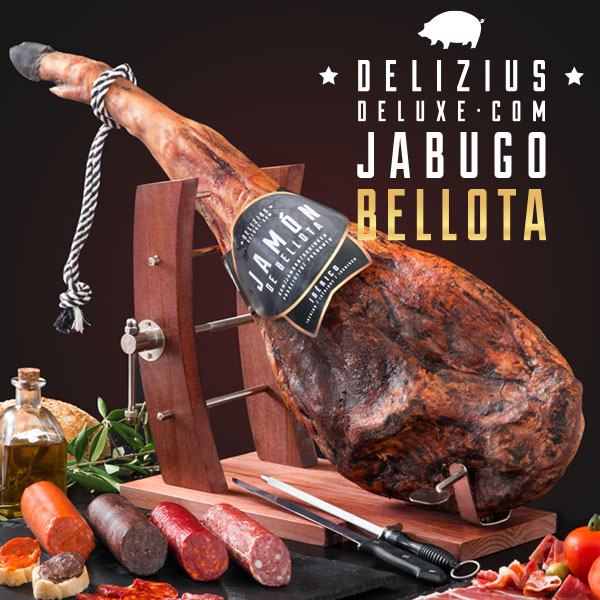 Set šunka + salámy + Gourmet stojan na šunku + nůž a bruska - Iberská žaludová šunka5,5/6 kg