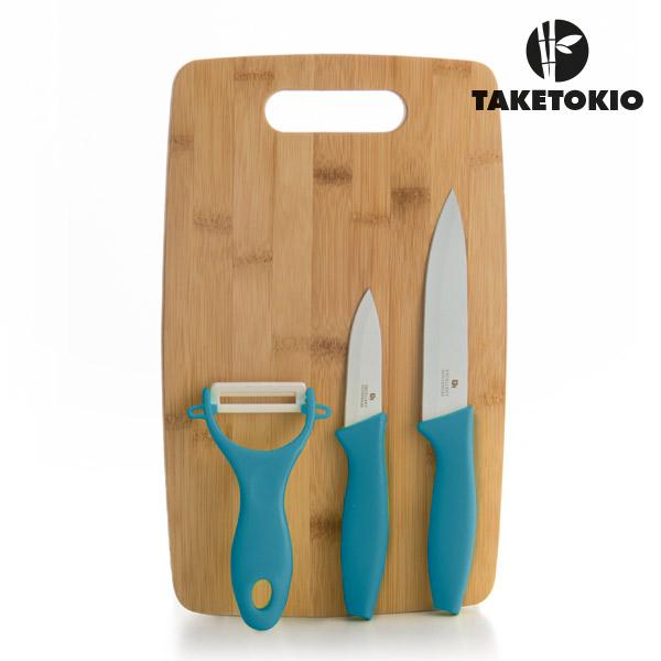 Keramické Nože s Bambusovým Prkénkem TakeTokio (4 kusy) - Tyrkysový