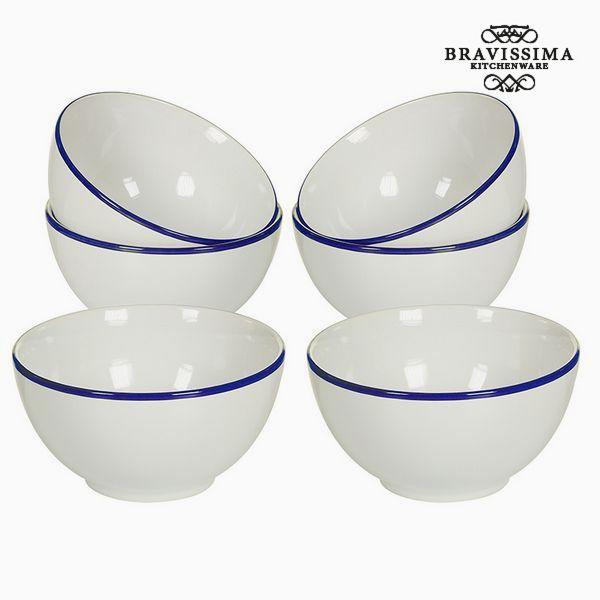 Set of bowls China crockery Bílý Námořnický modrý (6 pcs) - Kitchen's Deco Kolekce by Bravissima Kit