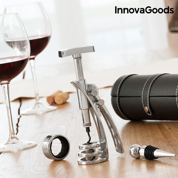 Zestaw Akcesoriów do Wina z Korkociągiem Screwpull InnovaGoods (4 części)