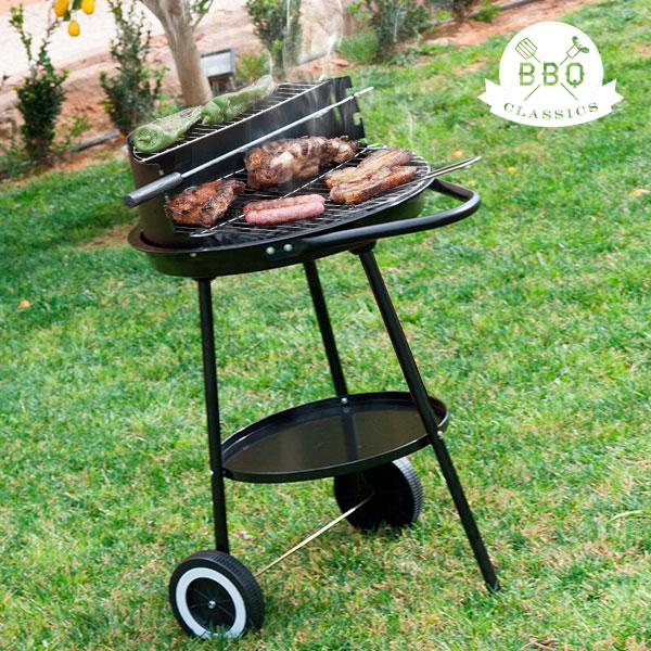 Gril na Dřevěné Uhlí s Regulací Výšky Roštu BBQ Classics