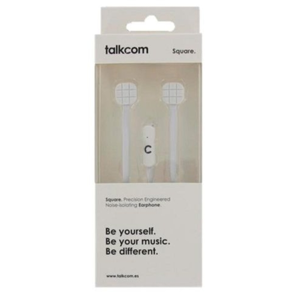 Sluchátka s mikrofonem Talkcom Square Bílý Silikonové
