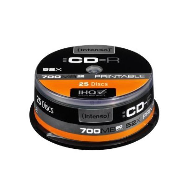 Potisknutelné CD-R INTENSO 1801124 52x 700 MB 25 pcs