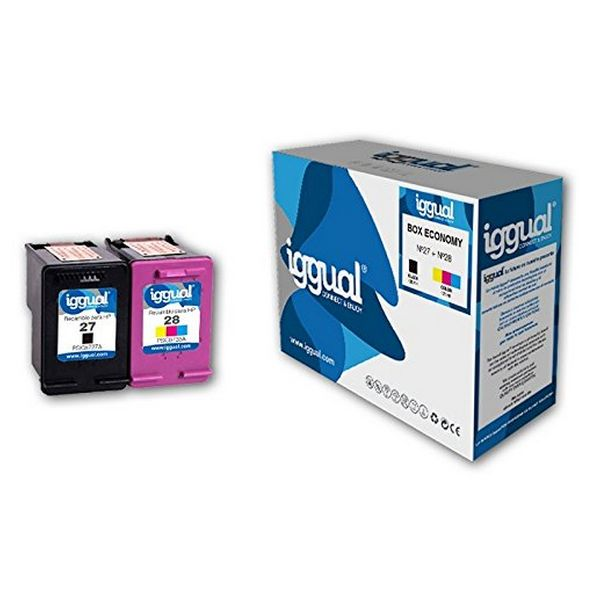 Originální inkoustová kazeta (balení po 2) iggual HP 27/28 Box-Economy Tříbarevná Černý