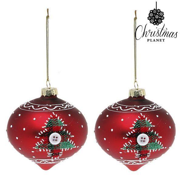 Vánoční koule Christmas Planet 1792 8 cm (2 uds) Sklo Červený