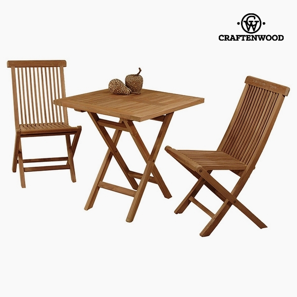 Stół z dwoma krzesłami Drewno tekowe (70 x 70 x 77 cm) by Craftenwood