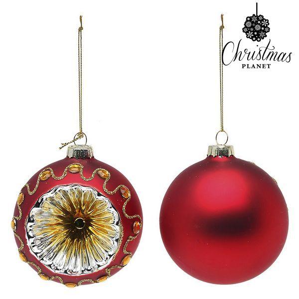 Vánoční koule Christmas Planet 1662 8 cm (2 uds) Sklo Červený