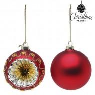 Vianočné gule Christmas Planet 1662 8 cm (2 uds) Sklo Červená