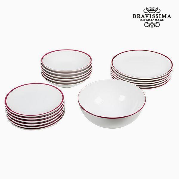 Tableware (19 pcs) Biały Bordeaux - Kitchen's Deco Kolekcja by Bravissima Kitchen