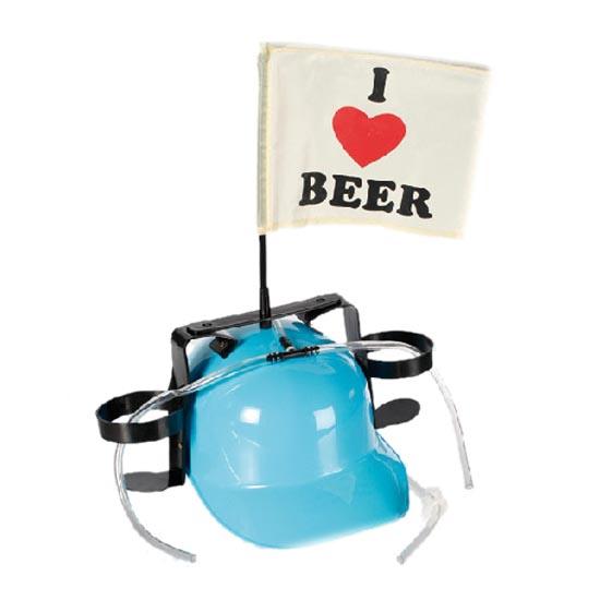 Kask I Love Beer z Uchwytami na Napoje - Jasnoniebieski