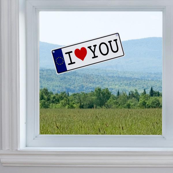 Tablica Rejestracyjna I Love You na Przyssawkę
