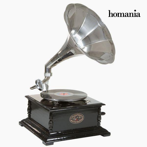 gramofon Hranatý Černý Stříbro - Old Style Kolekce by Homania