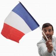 Flaga Francji z Masztem (46 x 30 cm)