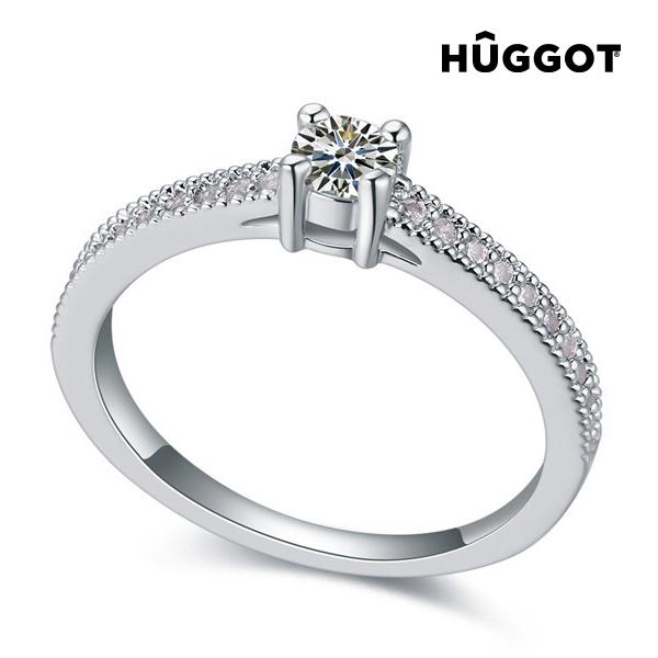 Prsten potažený rhodiem se zirkony Love Hûggot - 16,8 mm