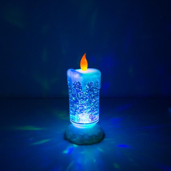 Świeca Wielokolorowa LED z Poruszającym się Płynem i Brokatem z Homania