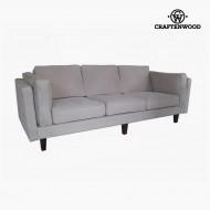 Canapea cu 3 Locuri Lemn de pin Imitație de piele Bej (228 x 92 x 80 cm) by Craftenwood