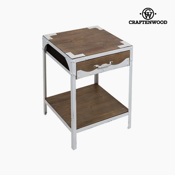 Stůl Jedlové dřevo Železo Bílý (1 zásuvka) (45 x 45 x 56 cm) by Craftenwood