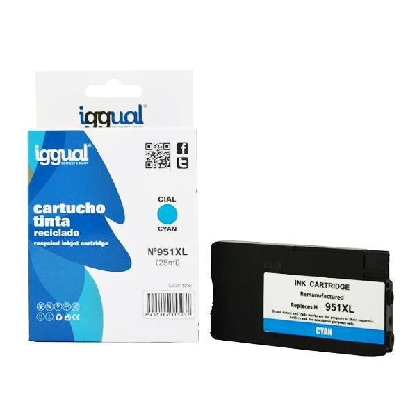 Recyklovaná Inkoustová Kazeta iggual HP IGG313237 Azurová