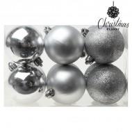Vianočné gule Christmas Planet 8145 6 cm (12 uds) Striebristý